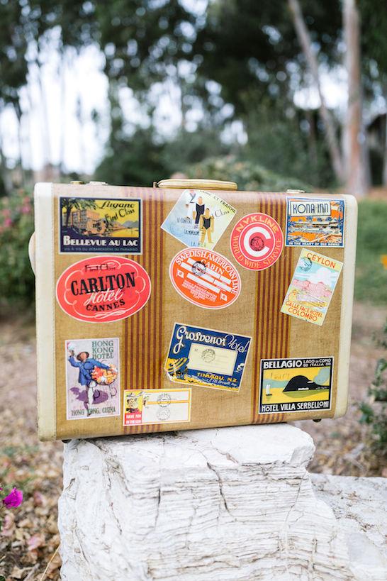 Toreno Vintage Striped Suitcase