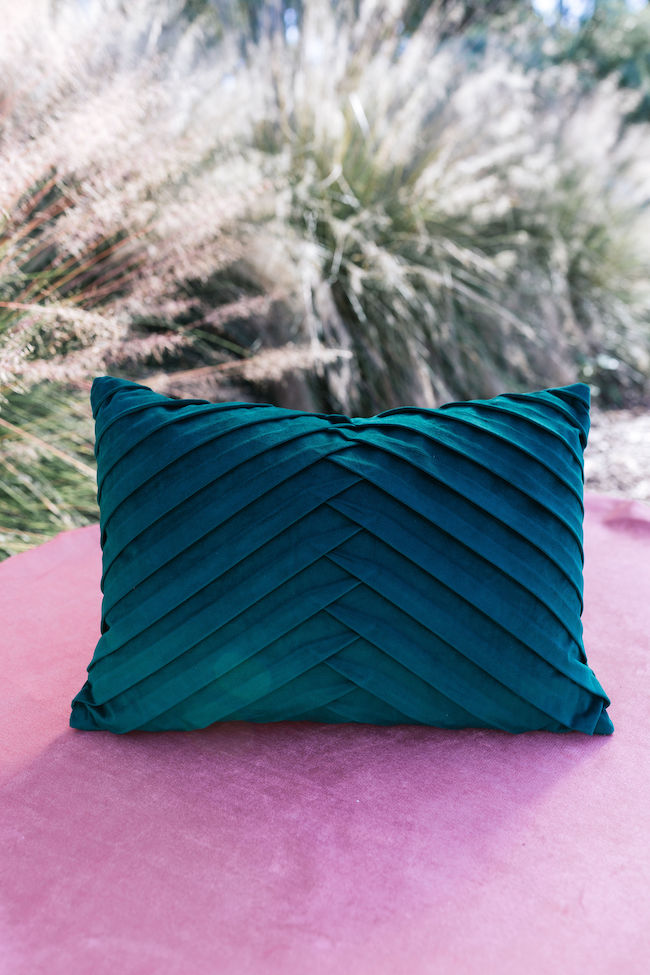 Natasha Green Pleated Lumbar Pillow