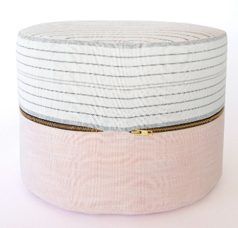 Harper Pink and Grey Ottoman with Tassel