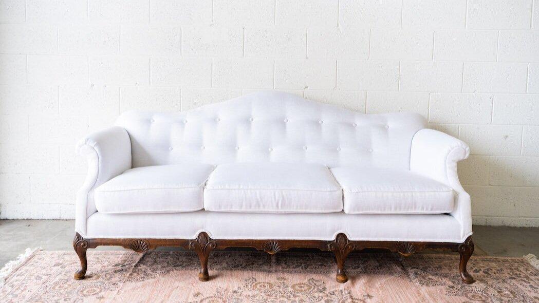 Carol White Camelback Sofa