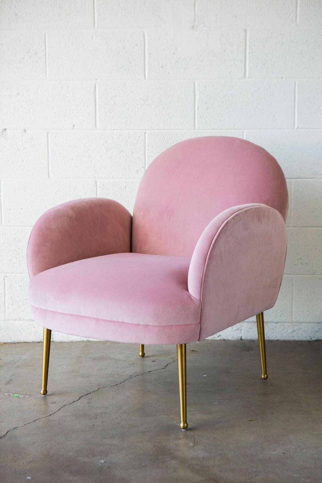 Cotton Candy Mauve Velvet Armchair — Provenance Rentals — Los