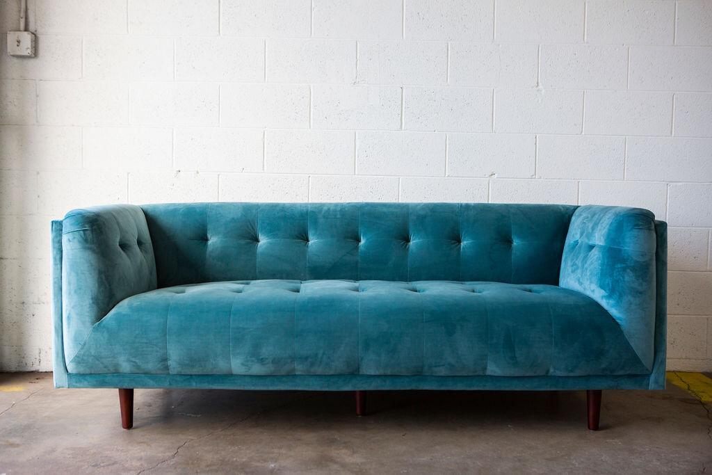 Oceane Blue Velvet Tufted Sofa — Los Angeles Event Rentals | Provenance Rentals