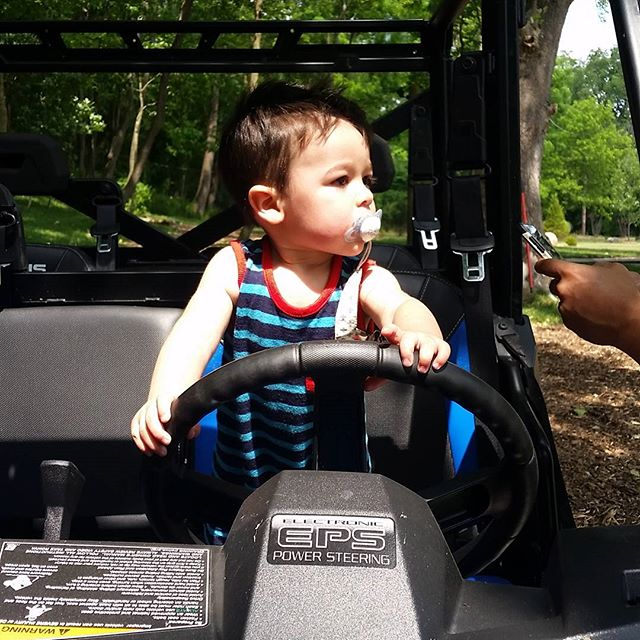 Meet out new polaris ranger driver. Maddox likes to drive fast to get you started with your zipline adventure.