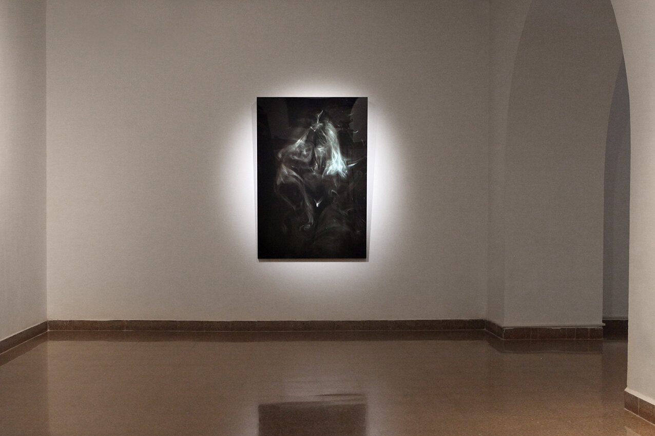 Pythia, 2019, wood, print, plexiglass, 150x105 cm, at The Larva Society for Psychical Research, Artists House, Jerusalem