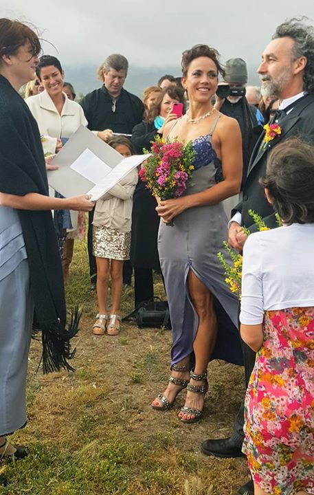 Shiloh and I surrounded by friends and family at our wedding ceremony, at the Muir Beach Overlook.