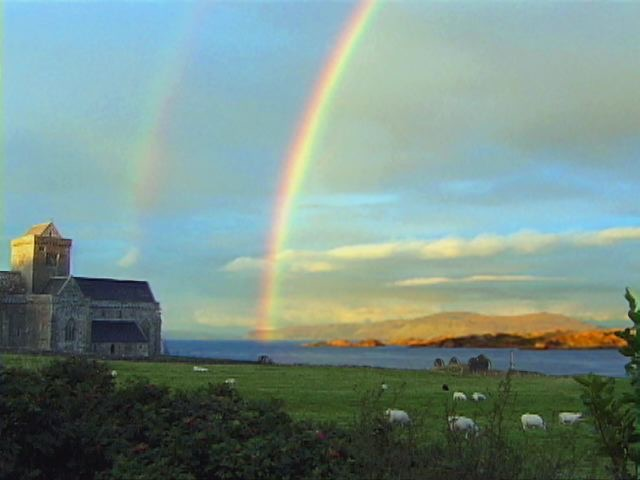 Double rainbow over the monastery on the island of Oban.