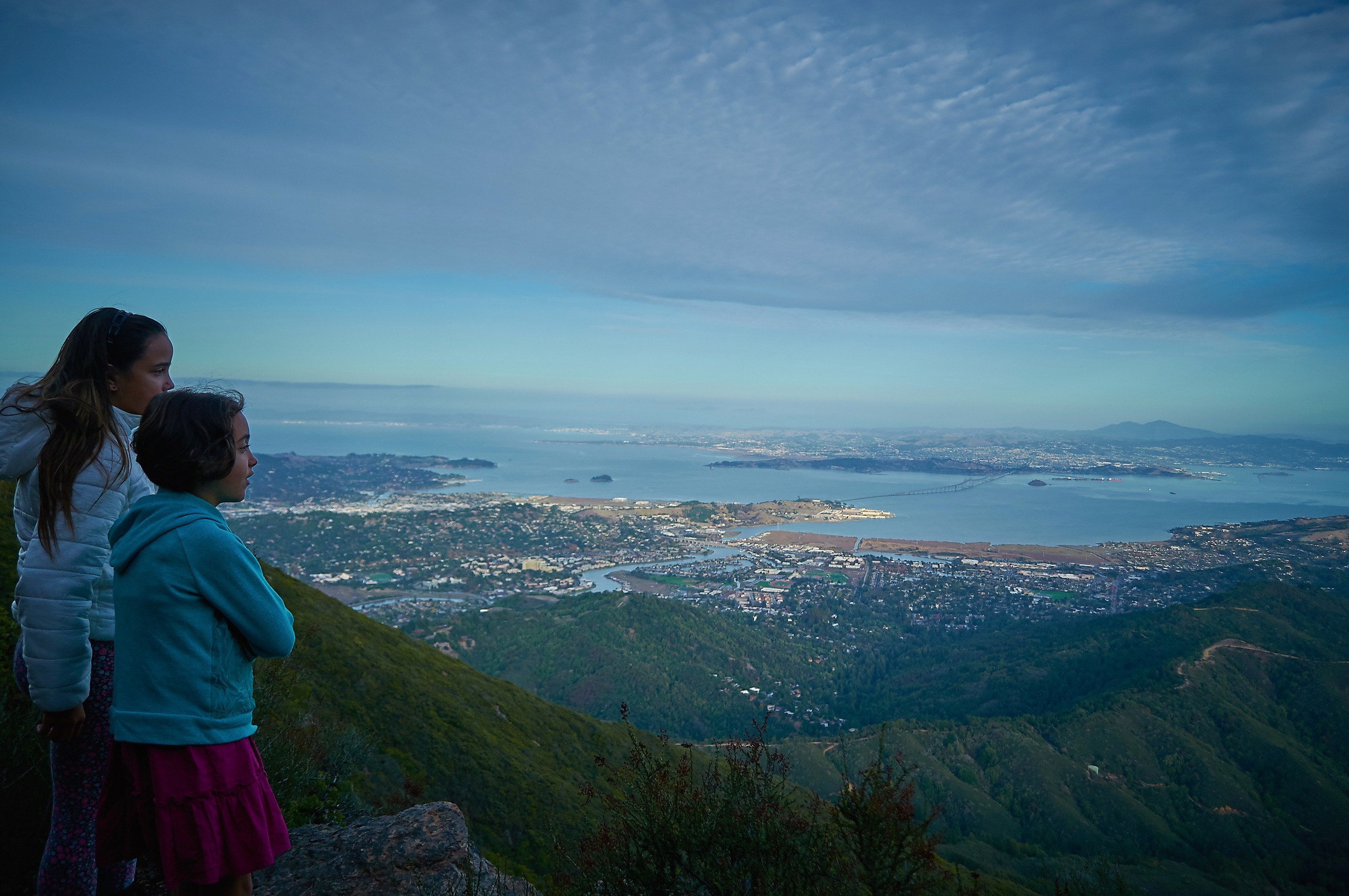 Charlotte and Savannah looking out from East Peak on Mt. Tamalpais towards the Richmond Bridge and the East Bay.