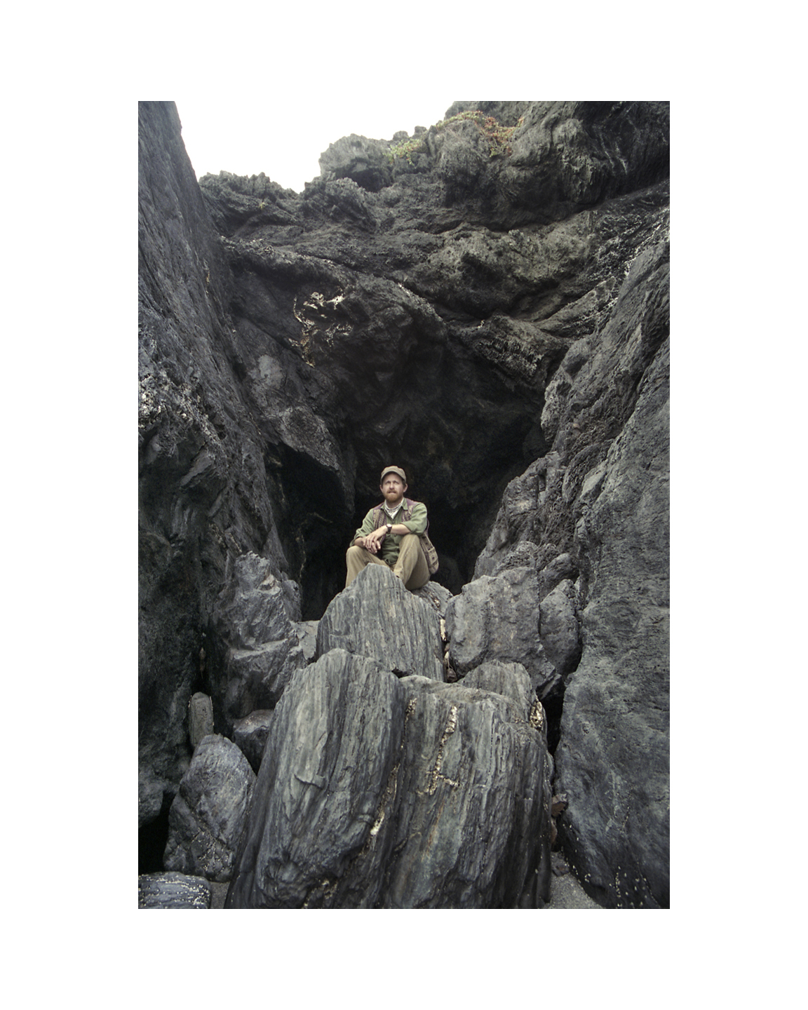 Jeff in the Petrified Sequoia Beach Cave - Big Sur