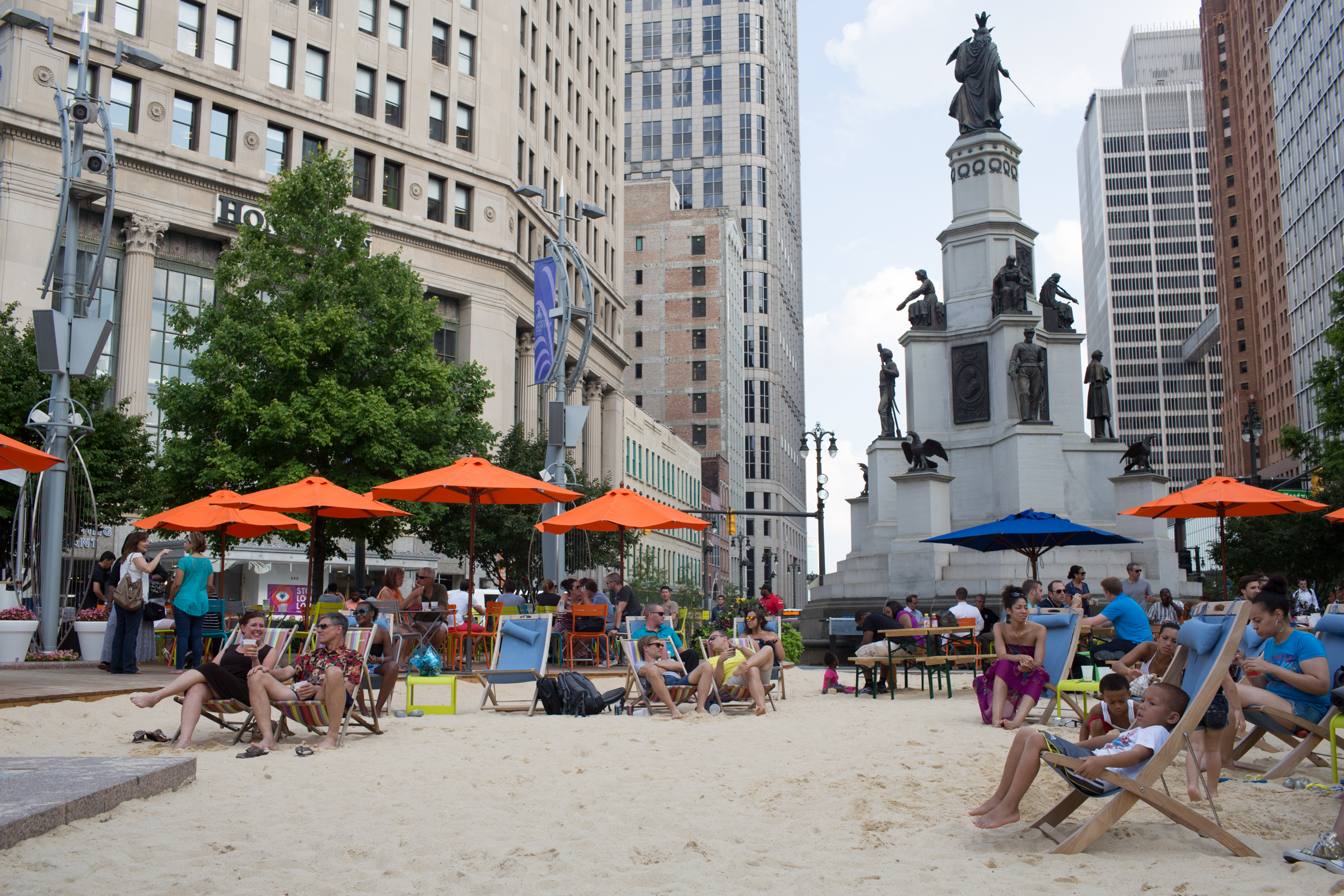 City Beach in Campus Martius Park, Detroit.
