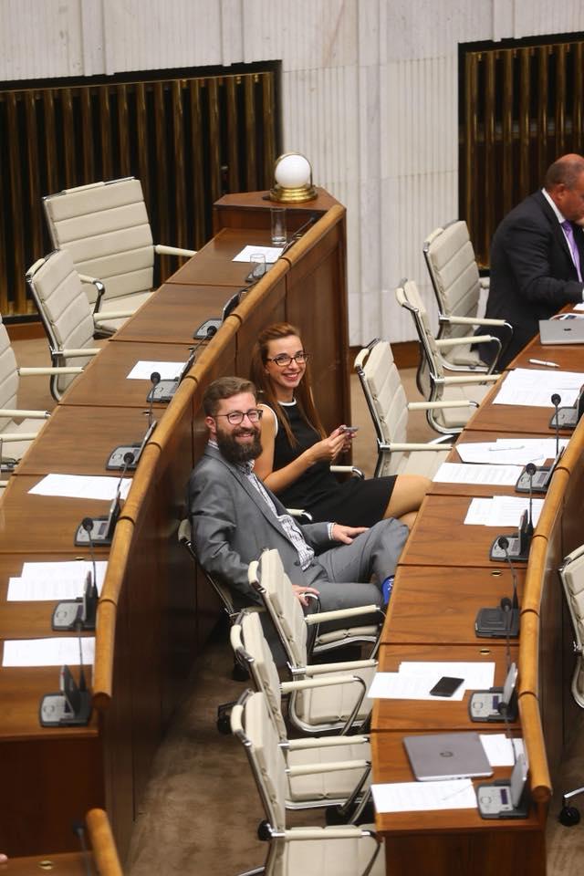 Simona Petrík a Martin Poliačik v slovenskom parlamente, foto: Vladimír Benka