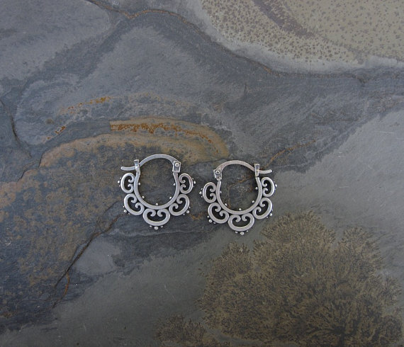 Sm Ornate Hoops  ORN100-H-SS $30 ORN100-H-GP $40