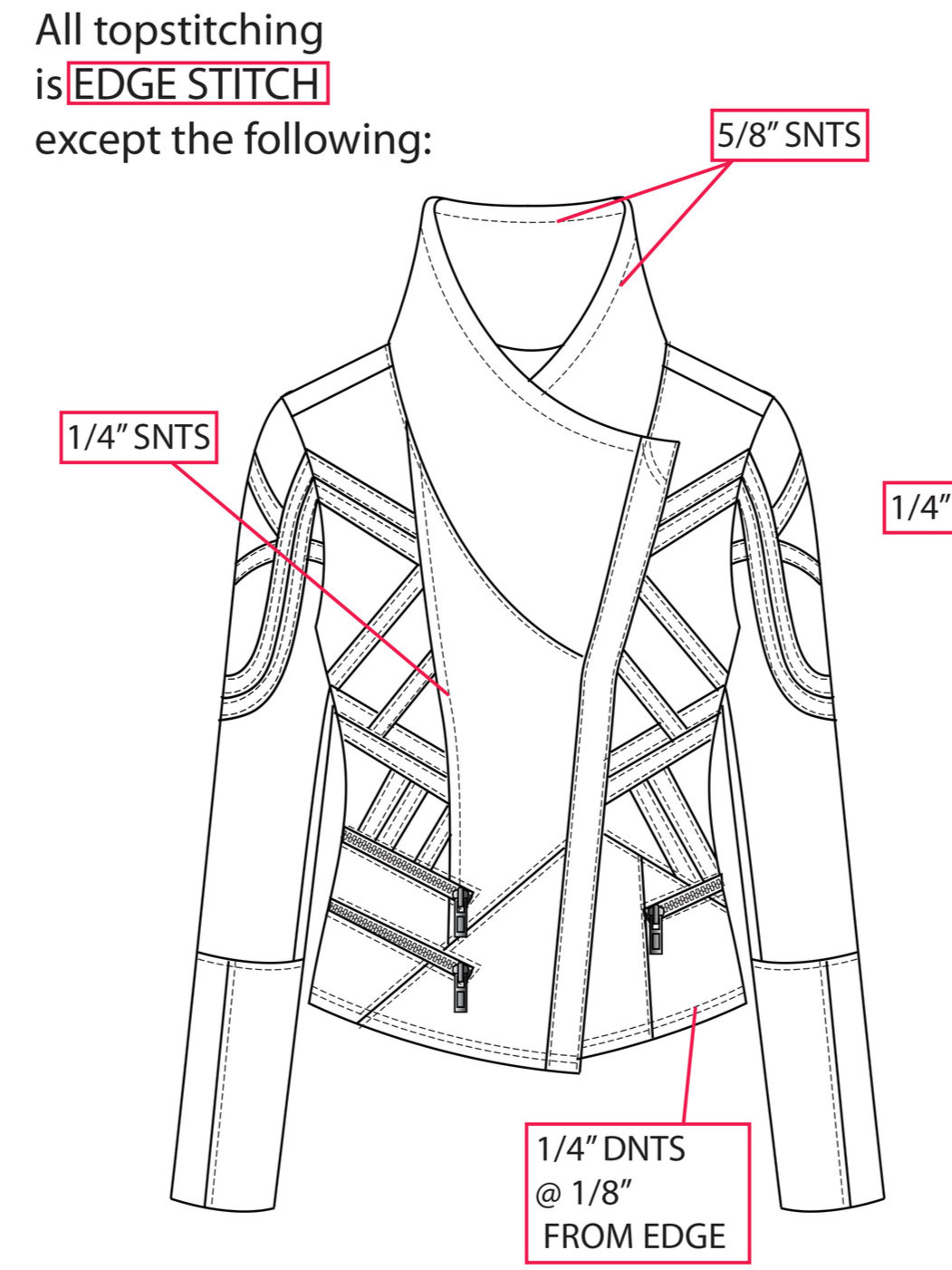 Women's Jacket Techpack, Stitching Details - DeannaKei