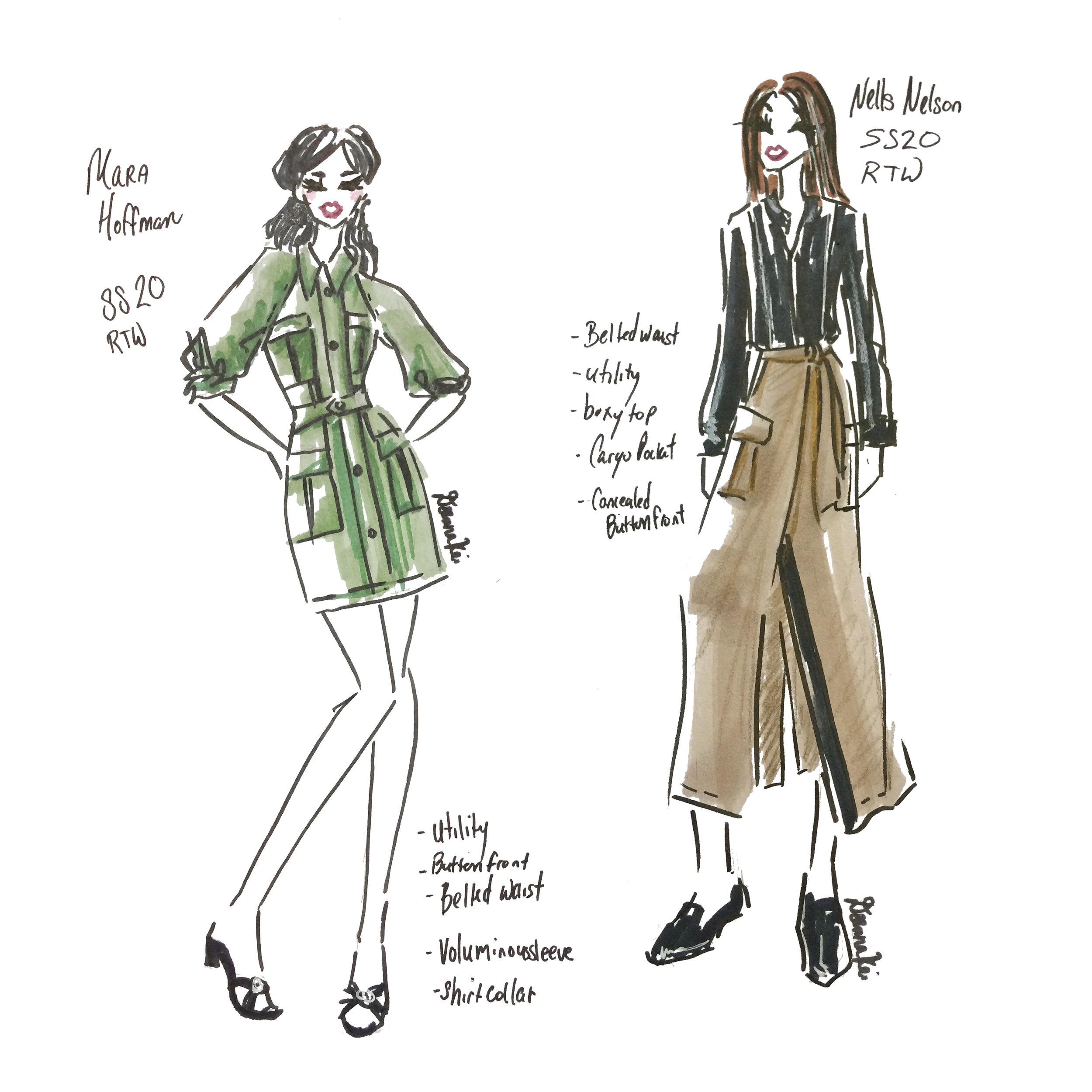 Mara Hoffman and Nells Nelson - Spring 2020 NYFW - Sketch by DeannaKei