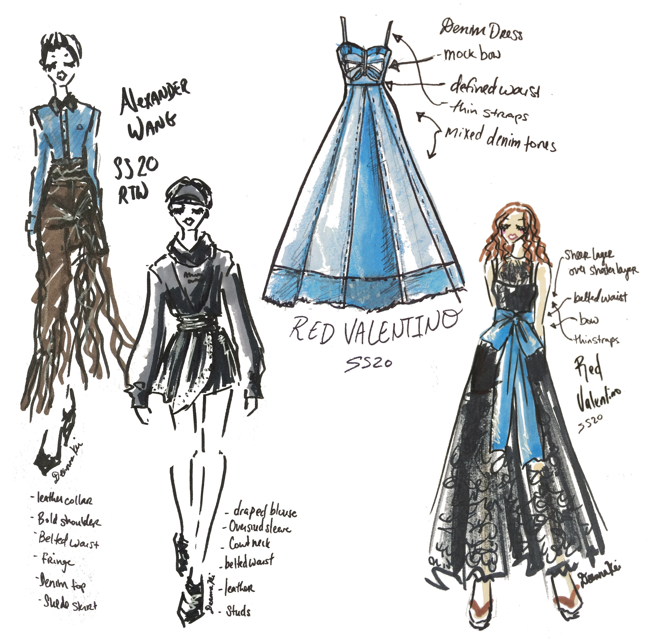 Alexander Wang and Red Valentino - Spring 2020 NYFW - Sketch by DeannaKei