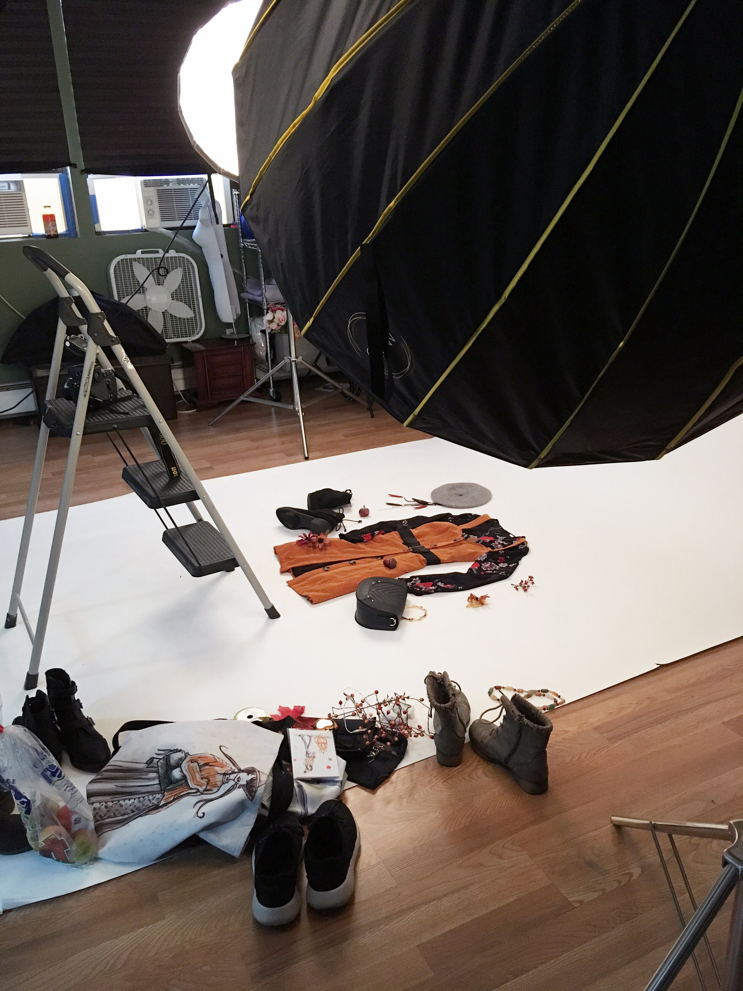 Behind the scenes: In the photo studio with Photographer:  Meg Zano  — and yes, that's a bag of real apples!