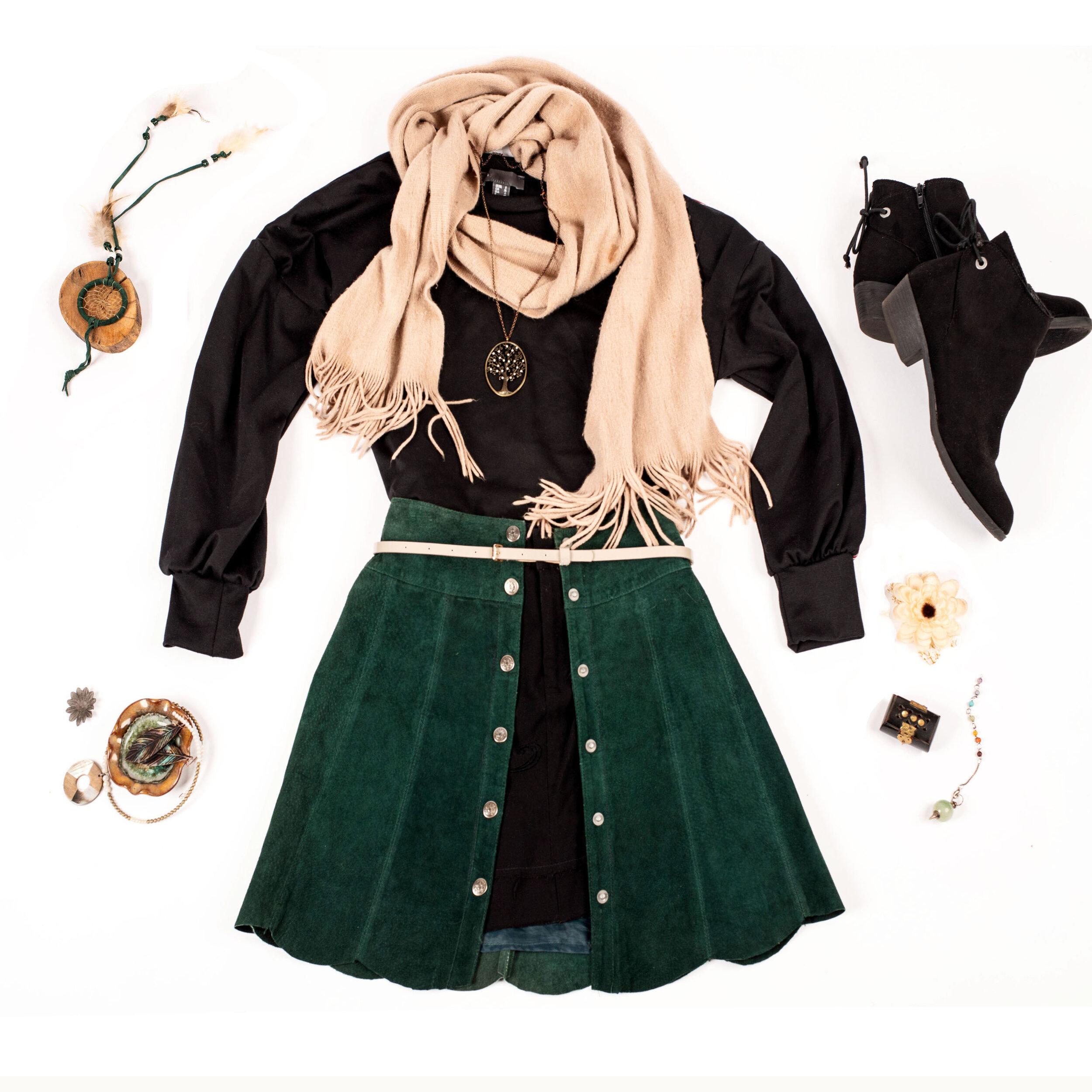 deanna kei meg zano Fall fashion styling outfit green skirt.jpg