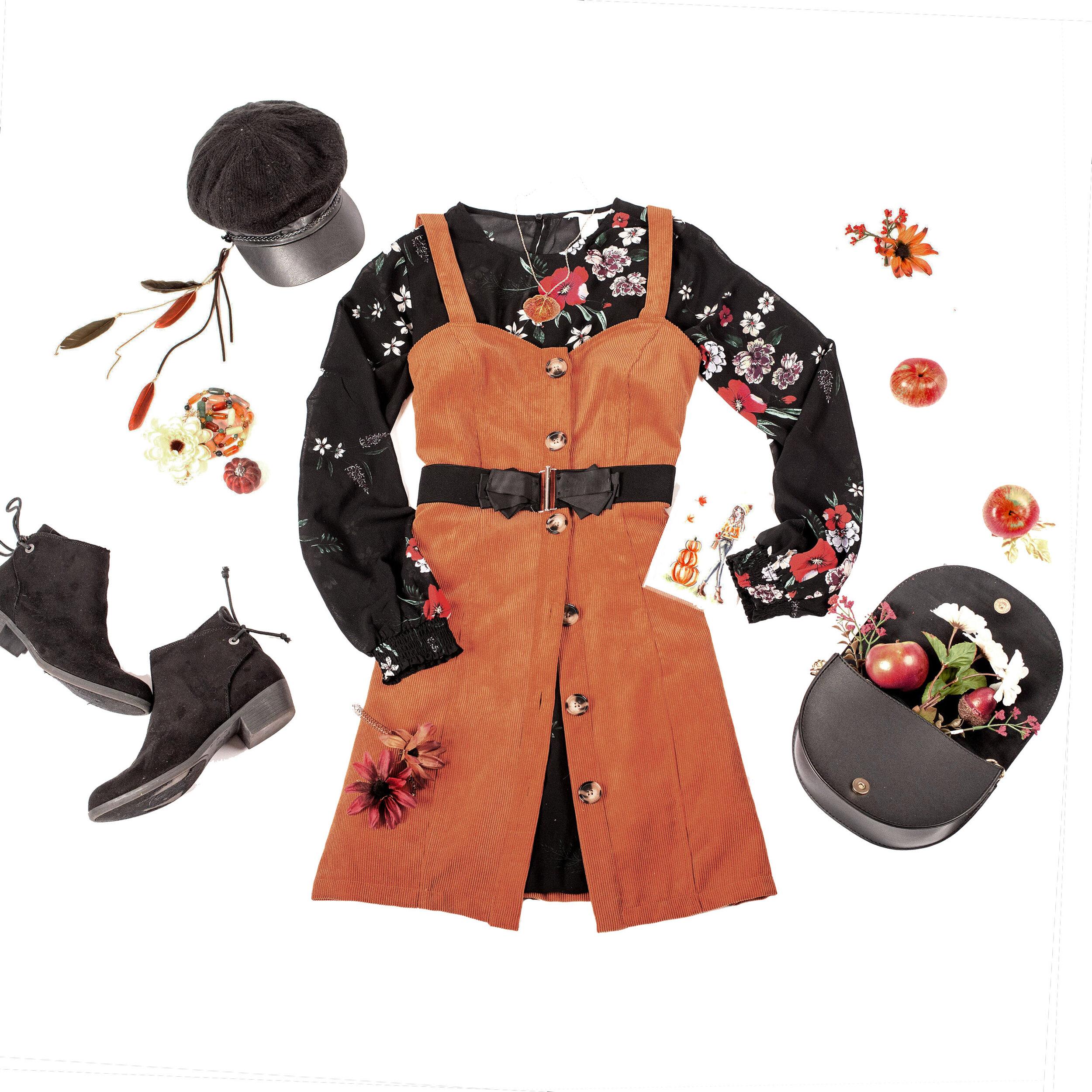 deanna kei meg zano Fall fashion styling outfit orange dress.jpg