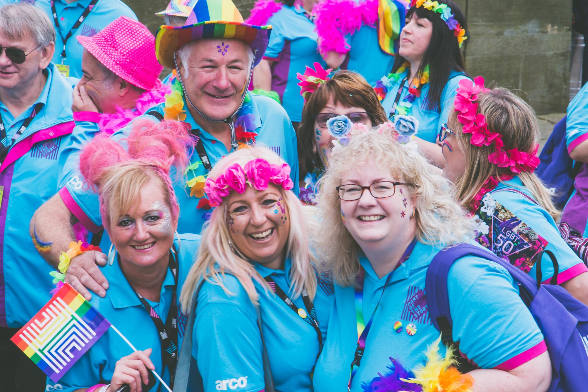 Volunteers in blue
