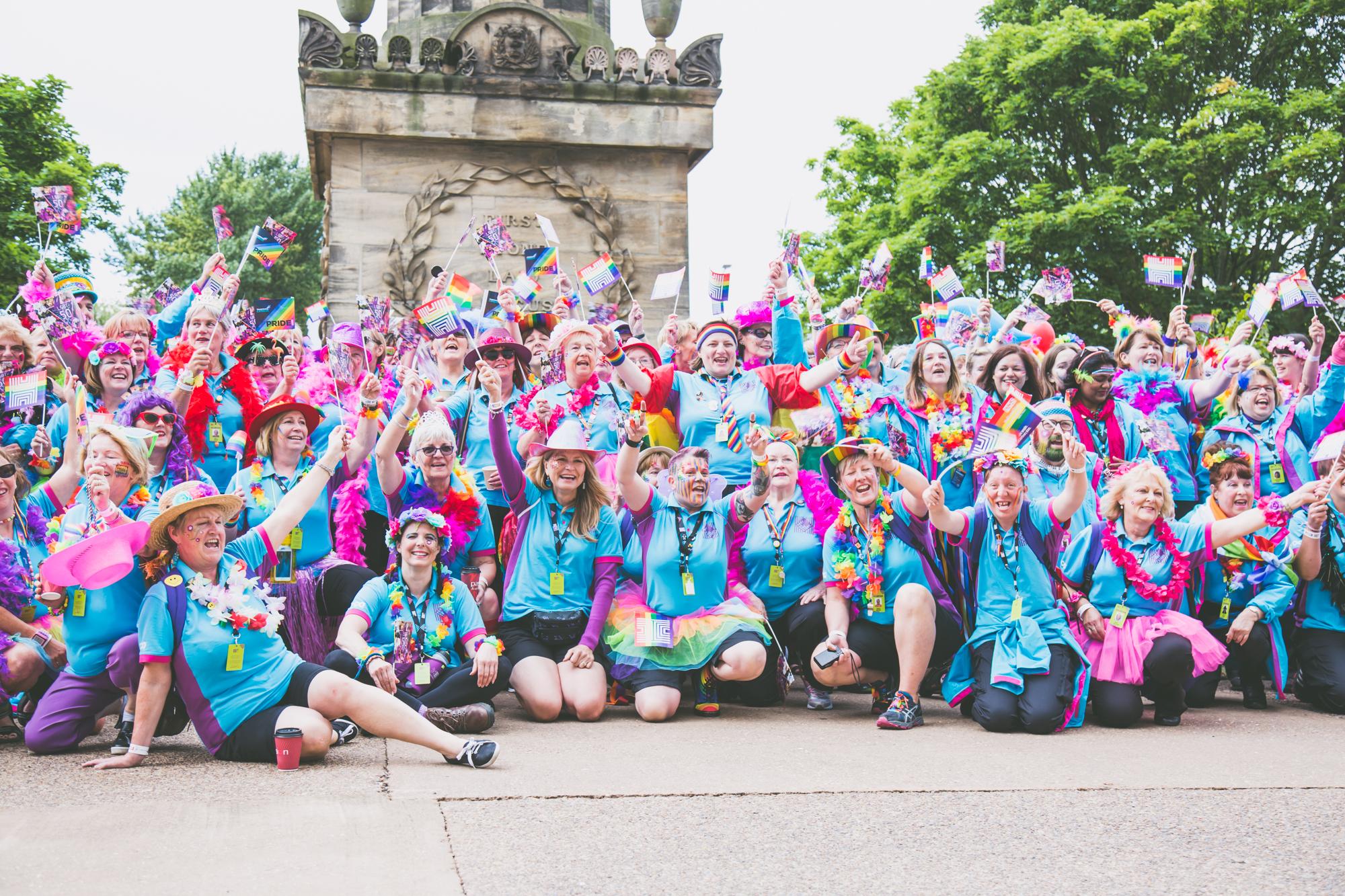 Blue volunteer group