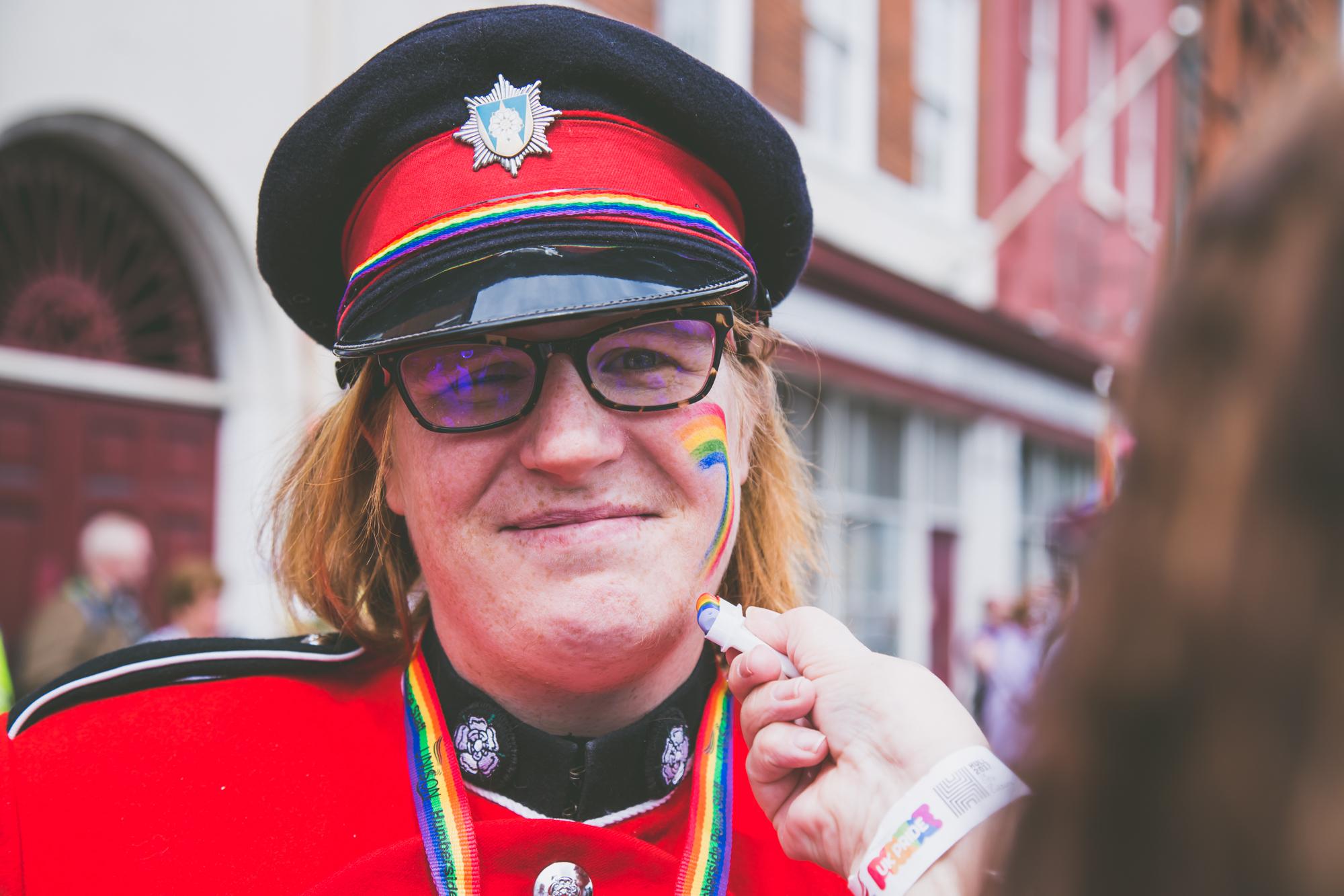 Red uniformed musician