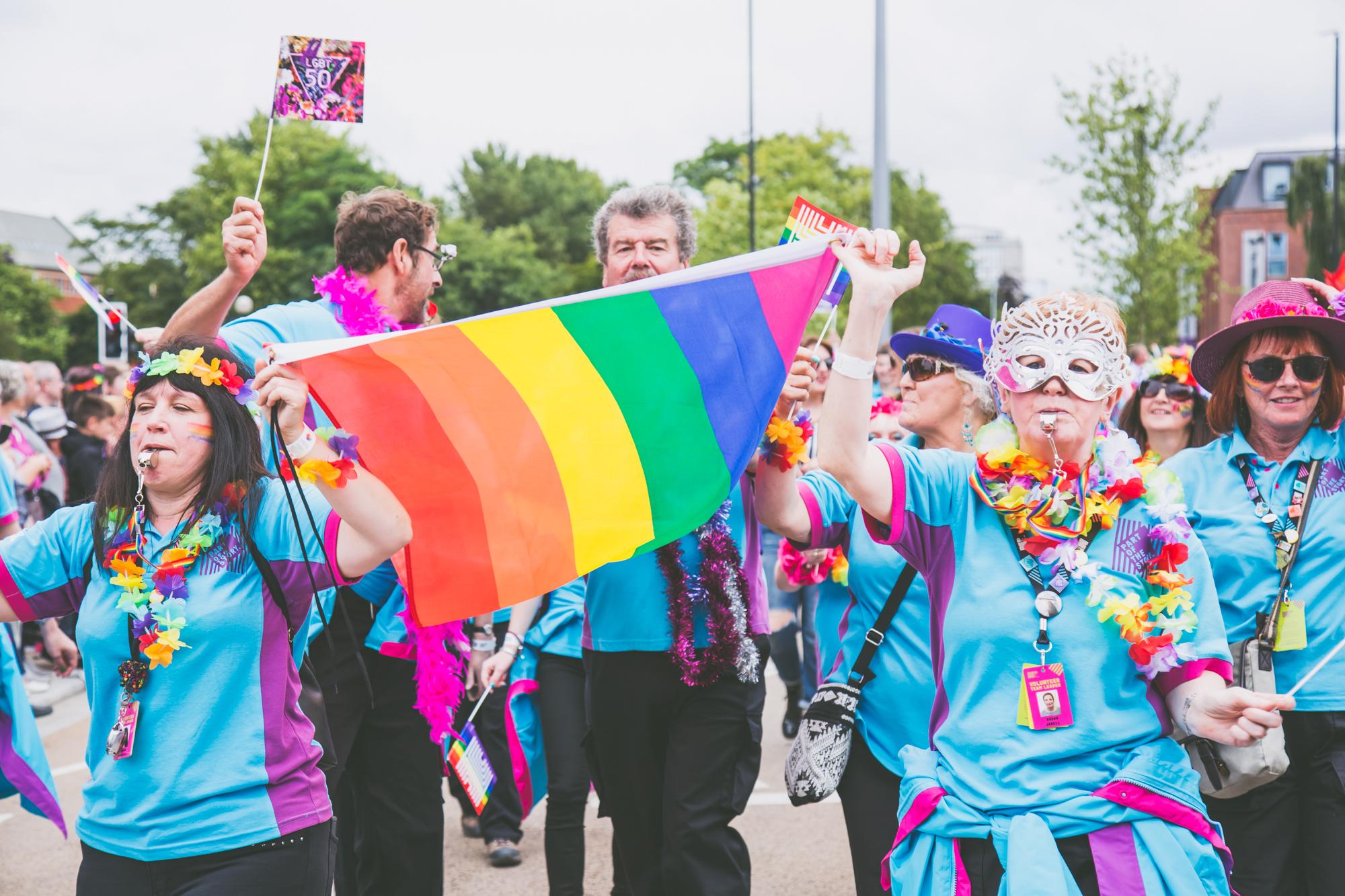 Pride flag waving