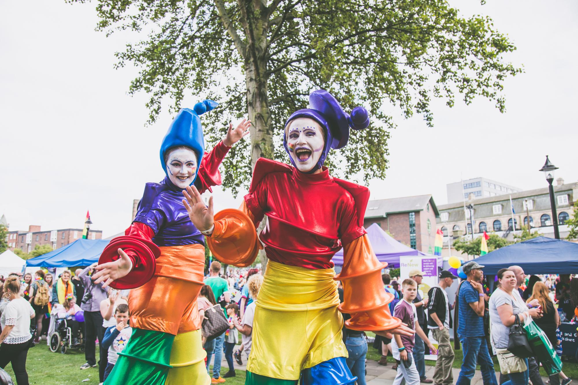 Rainbow Stilt walkers of Upperlevel