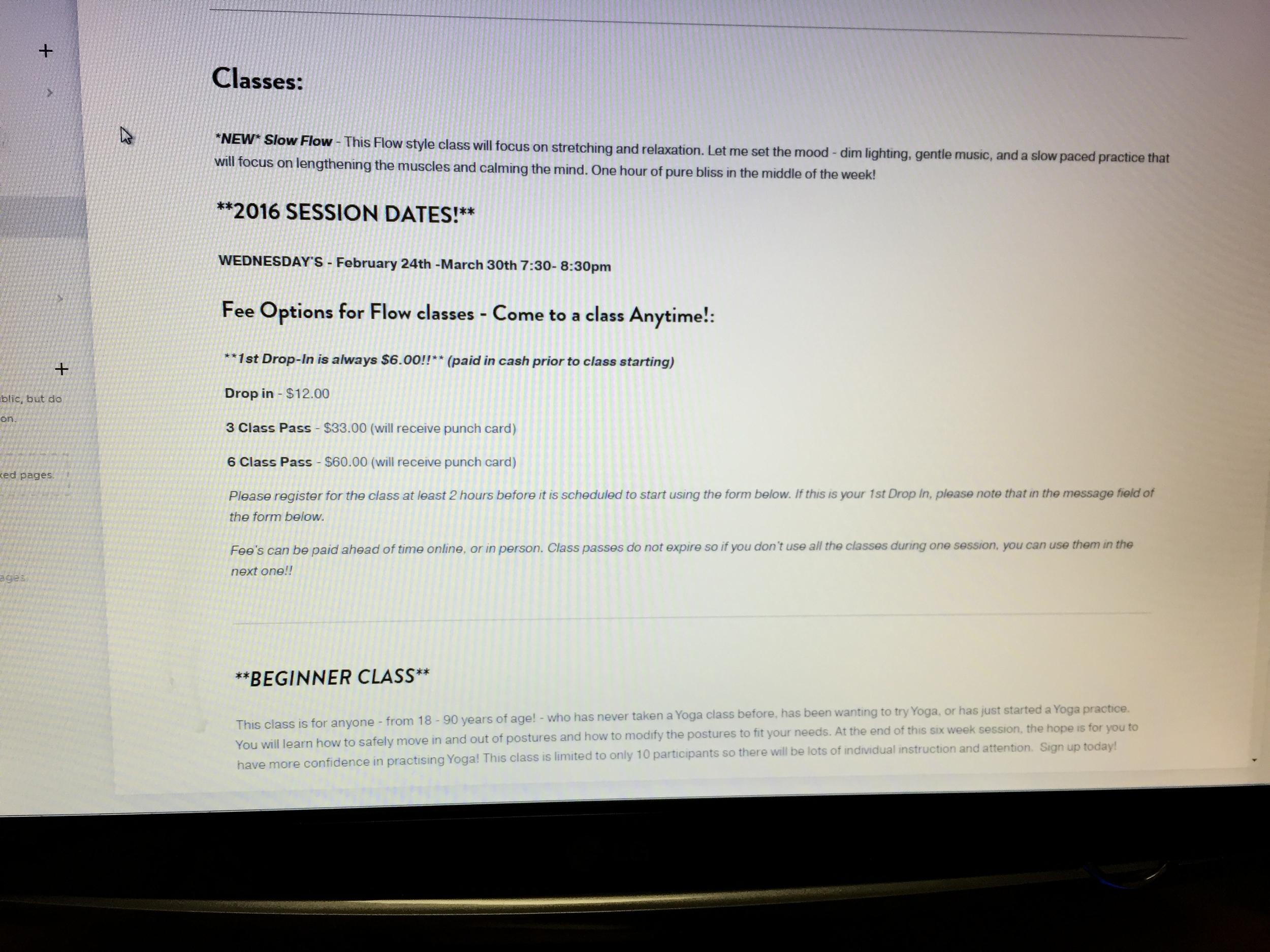 Writing class descriptions for the website