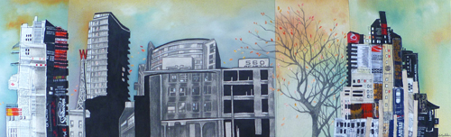 """560 Beatty / 11"""" x 35"""" / Sewn & Mixed Media on Canvas / SOLD Vancouver Timeraiser 2012"""