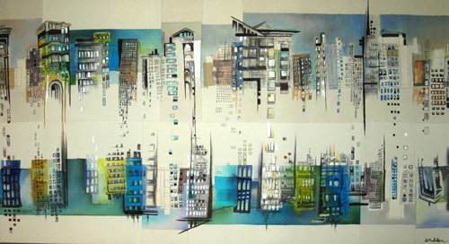 """Cityscape 3 / 19.5"""" x 36"""" / Sewn & Mixed Media on Canvas / SOLD Art for Life Art Auction 2010"""
