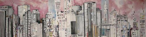 "Cityscape 5 / 13"" x 48.5"" / Sewn & Mixed Media on Canvas / SOLD Edmonton Timeraiser 2013"