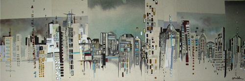 "Cityscape 8 / 12.5"" x 36.5"" / Sewn & Mixed Media on Canvas / SOLD Edmonton Timeraiser 2011"