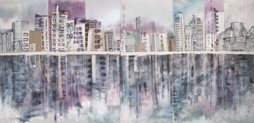 """Cityscape Reflections 1 / 15.5"""" x 32"""" / Sewn & Mixed Media on Canvas / SOLD Vancouver Timeraiser 2010"""