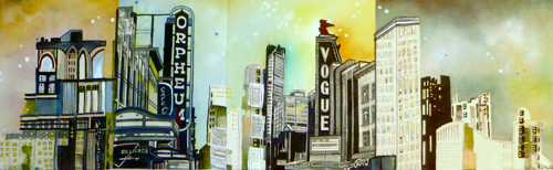 """Granville / 11.5"""" x 36.5"""" / Sewn & Mixed Media on Canvas / SOLD"""