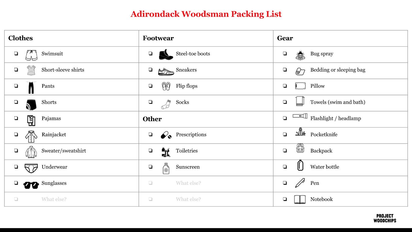 WoodsmanPackingList