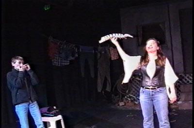 "Short performance piece, ""  Star Spangled Fish Skeleton  ,"" with mother  Carmen Liston  on harmonica."