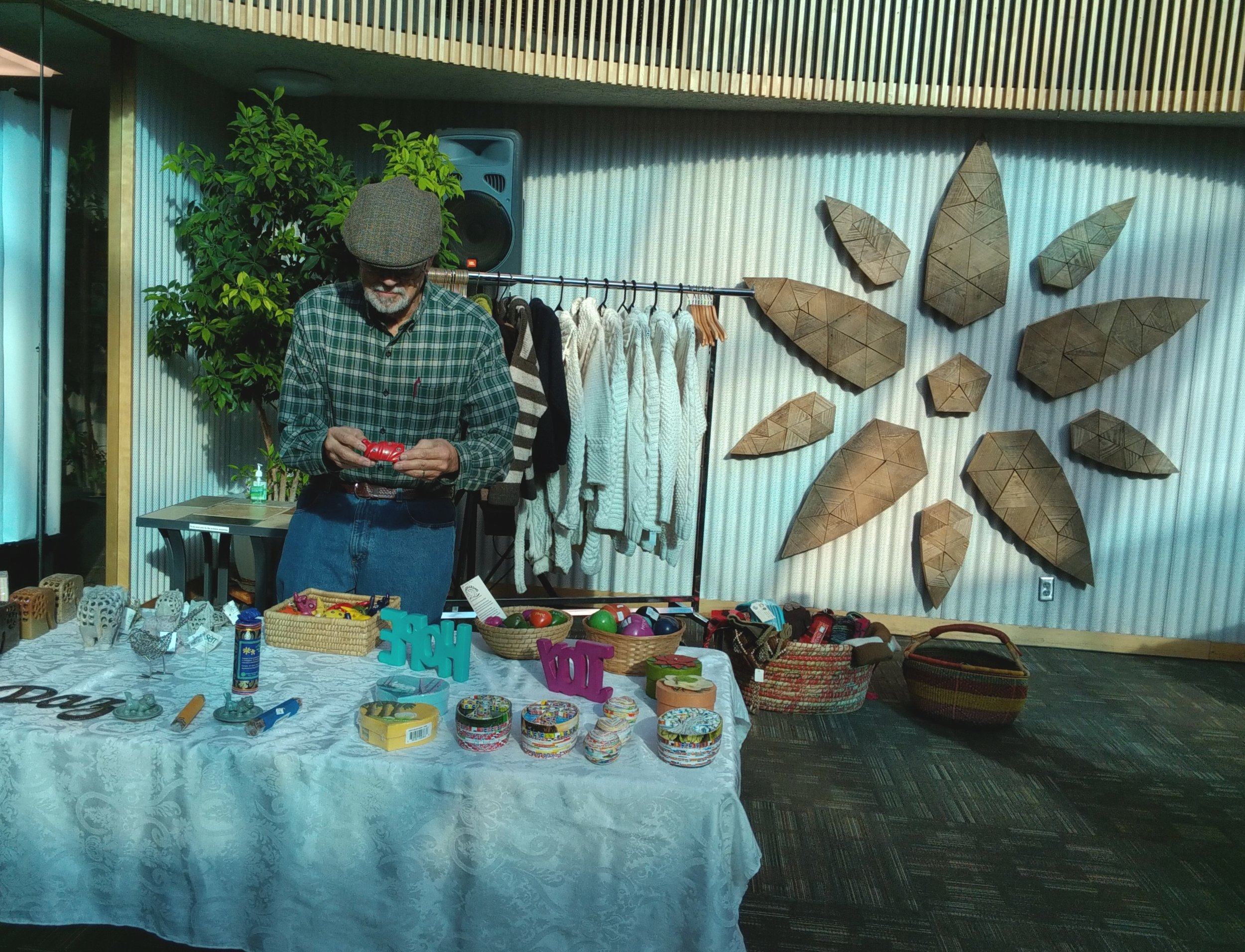 shoppers enjoyed browsing Plowsharing Crafts'Fair Trade gifts in the Fuller Dome
