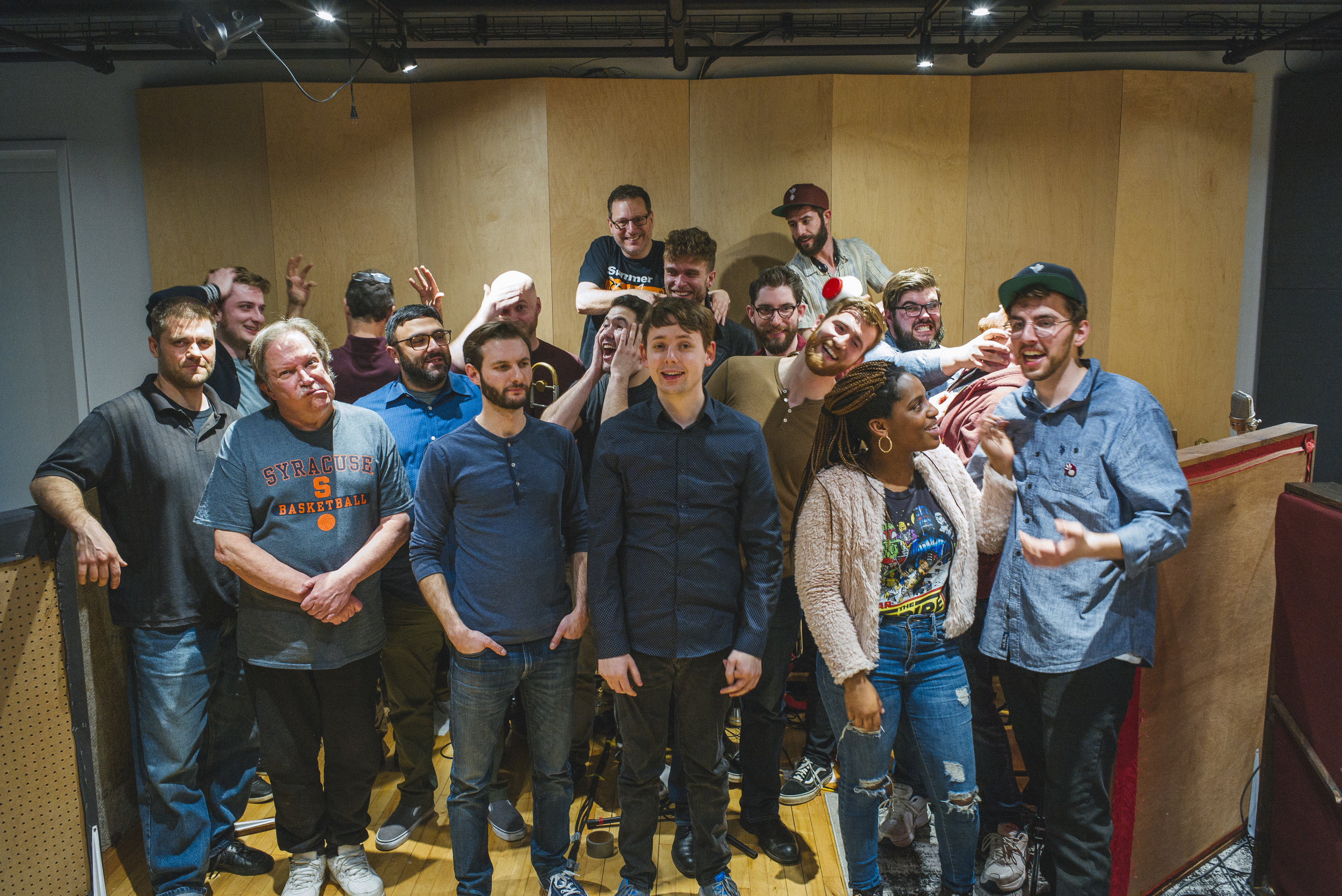 The band calmly takes a family portrait after a 3-day recording session