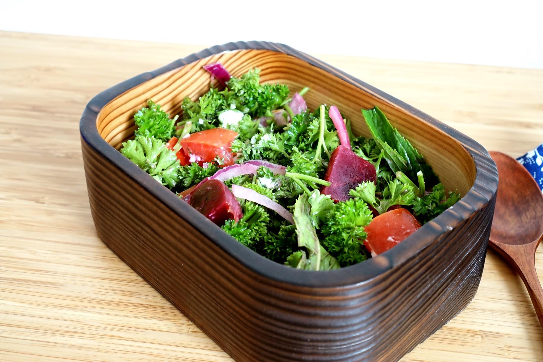 13th Wednesday  Lunch box ideas for adult with Cedar bento box.  Crunchy yummy salad Bento!