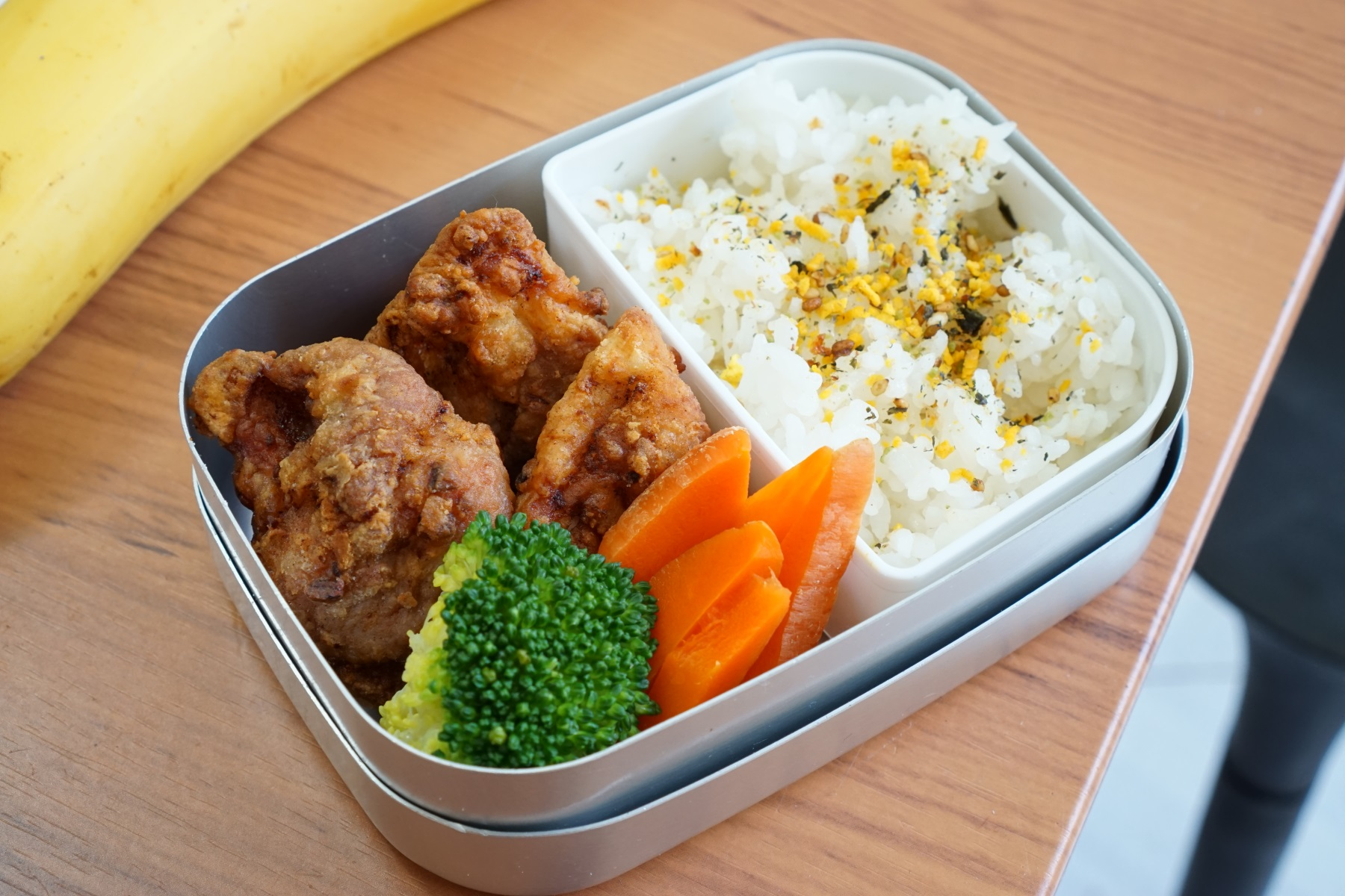 20th Wednesday  Karaage chicken and steamed vegetables.