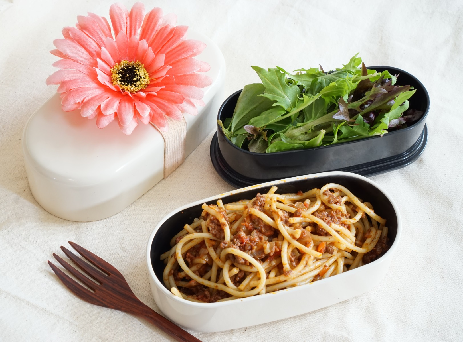 Spaghetti Bolognese and salad.this is leftovers of dinner yesterday.