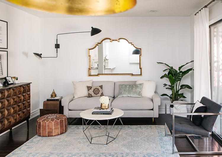 I found the burnished gold mirror for an insane price on Kijiji. I love how it looks with the modern swing arm light.