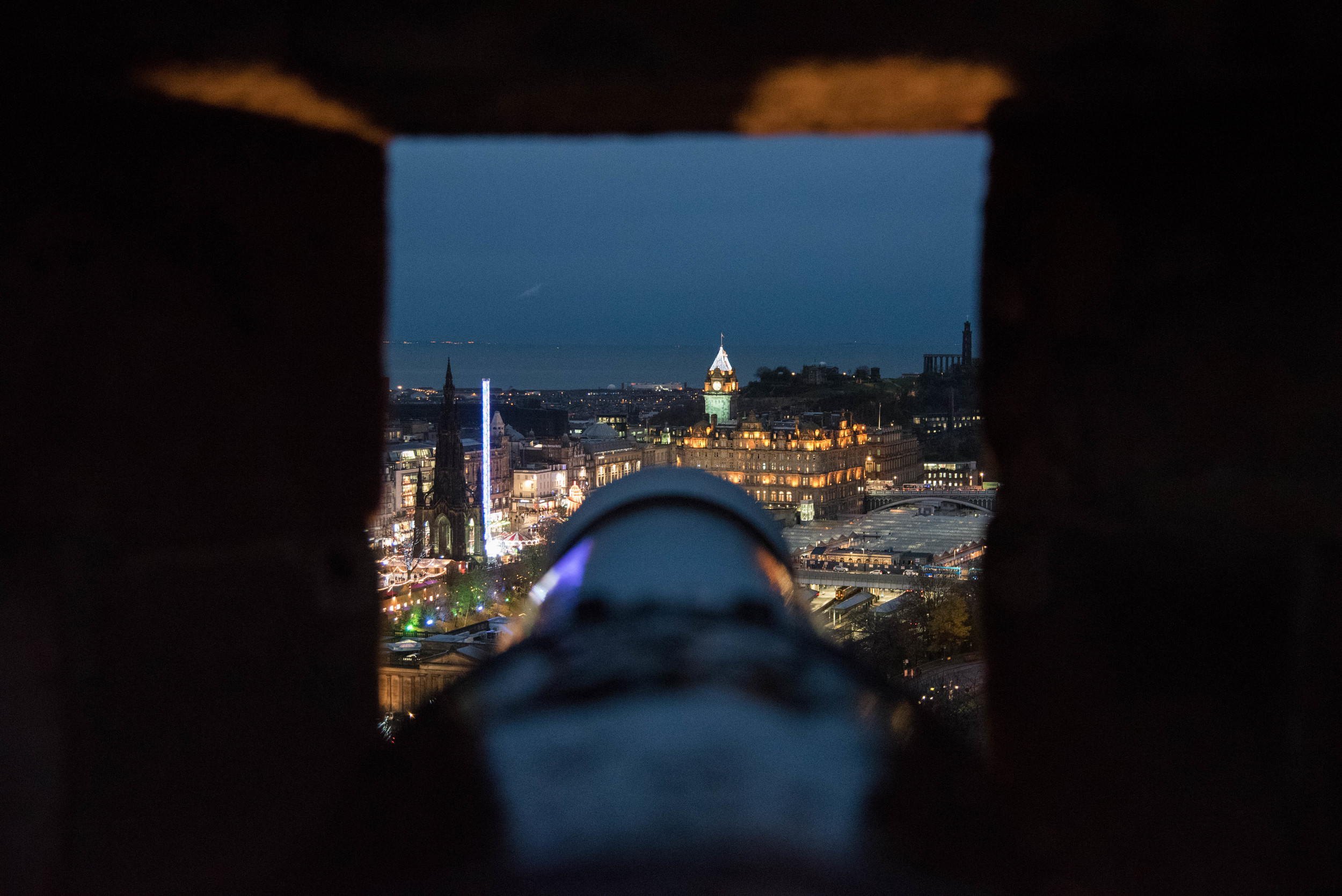 The view from a canon over the Christmas markets.