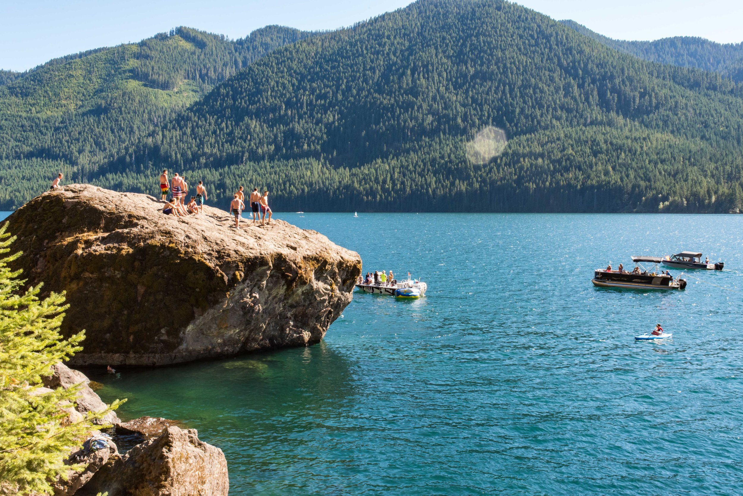 Lake Cushman boulder-jumpers.