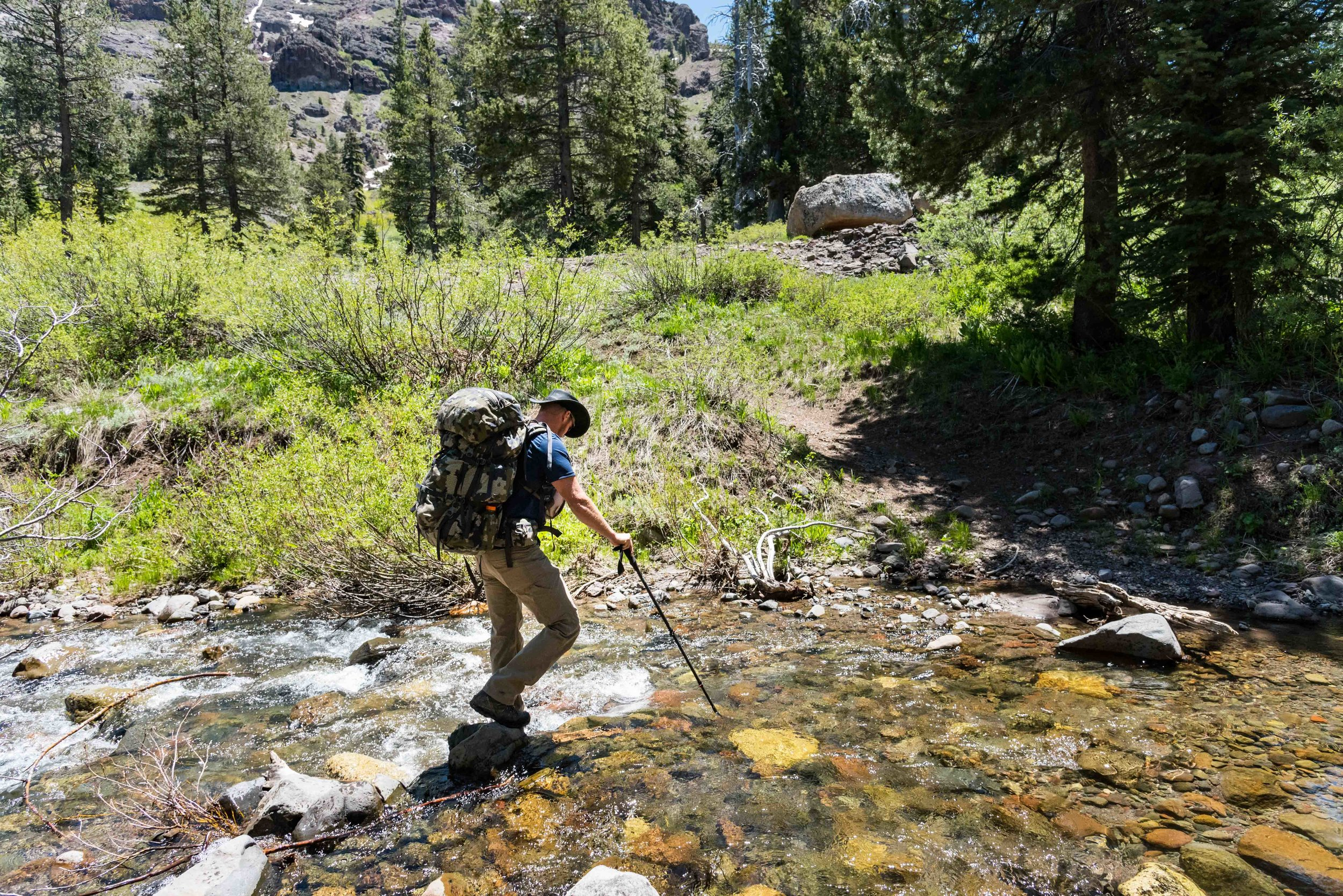 The first of many stream crossings.