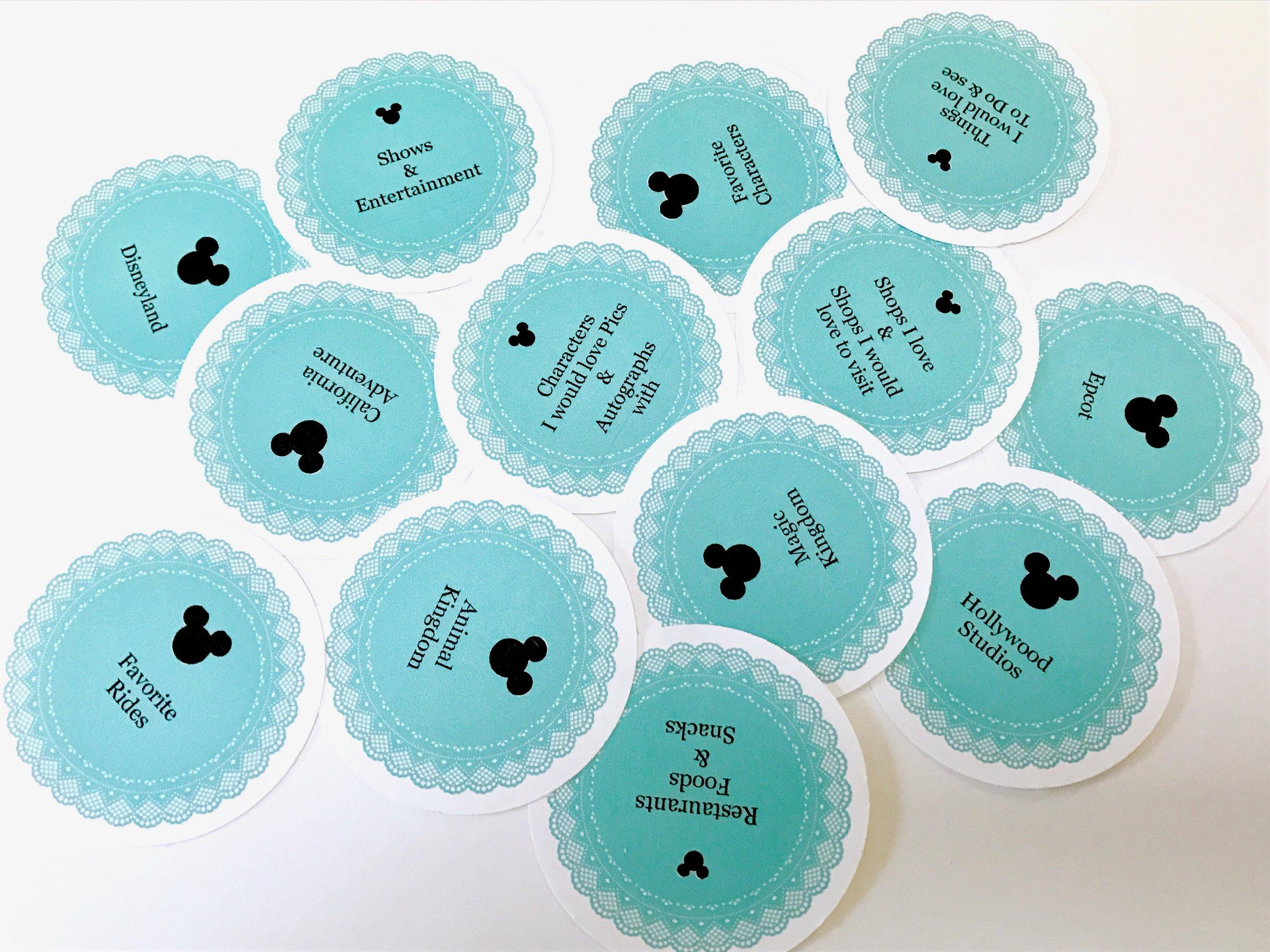 blue Disney themed labels