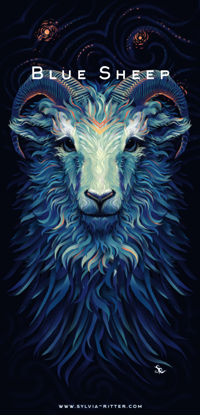 Blue Sheep - T-shirt Design for MrSuicideSheep