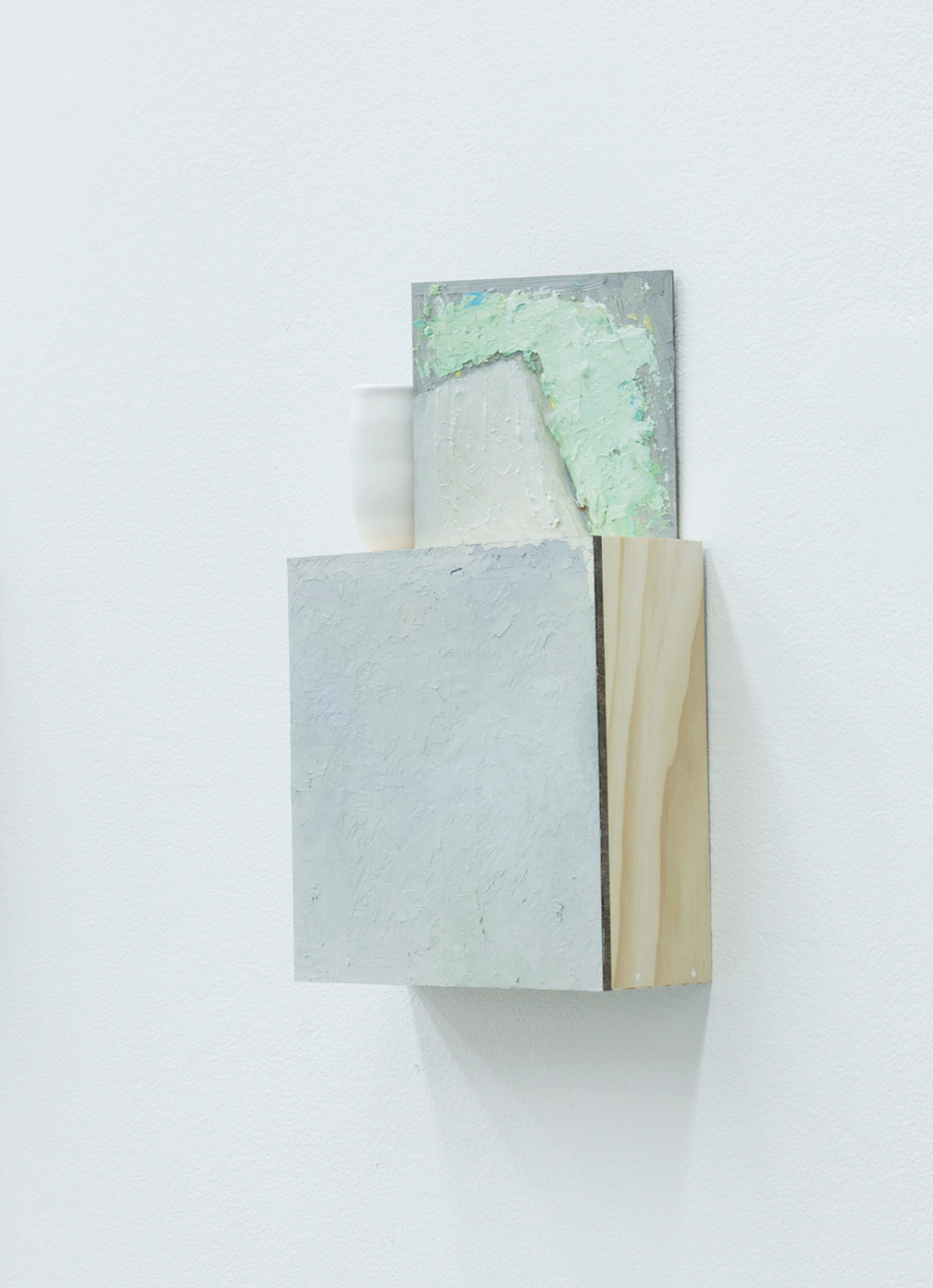 Untitled  2014  Oil, wood, and clay  12.75 x 3 x 7.75 inches