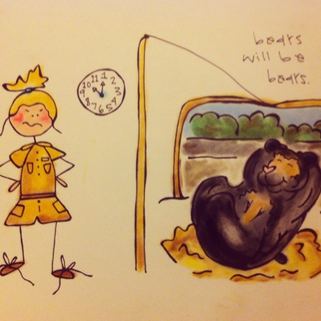 """Page 3 of the #khakishorts #nzkw mini book """"Life Lessons from a Zookeeper""""…Bears will be bears."""