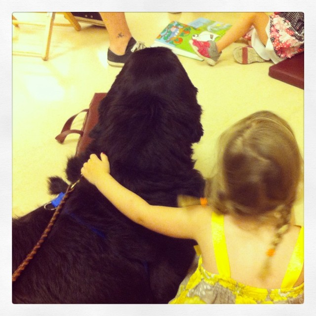 Sophie and Zara. Reading to a dog=making a friend. #mohistorymuseum #stl250 #supportdogs