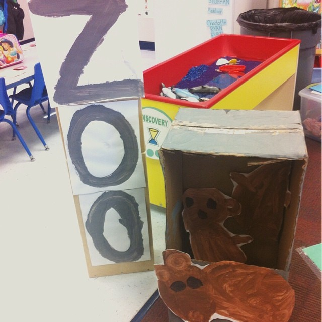 Author Visit to Rockwood's preschool room! They made a Zoo! Best part? Definitely the ZOO pylon and bear pits!